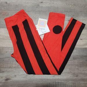 LuLaRoe Leggings OS Stripes/Dots Orange/Black